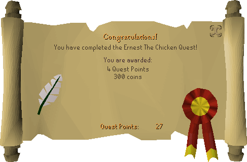 Ernest the Chicken reward scroll