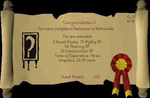 Darkness of Hallowvale reward scroll