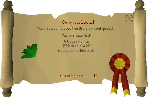 Druidic Ritual reward scroll