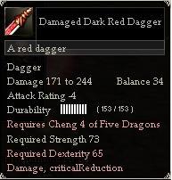 Damaged Dark Red Dagger