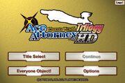 Phoenix Wright Ace Attorney Trilogy HD main menu