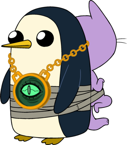 File:Gunter with Kitten taped to his back.png