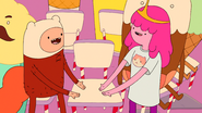 S6e23 Finn and PB offering each other the seat