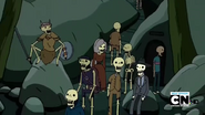 S2e17 Group of variously dressed skeletons