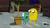 S4e8 Jake hiding behind BMO