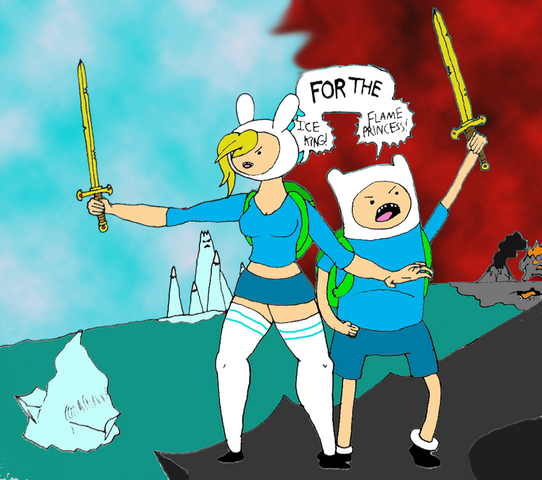 File:Crossover time with fionna and finn by giantcheesewheel-d55w2ha.png
