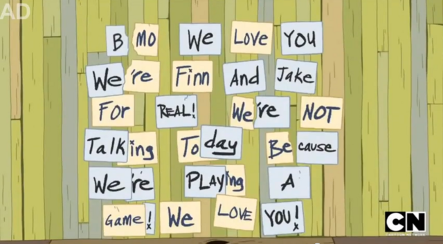 File:S5 e20 Finn and Jake's message to BMO.PNG