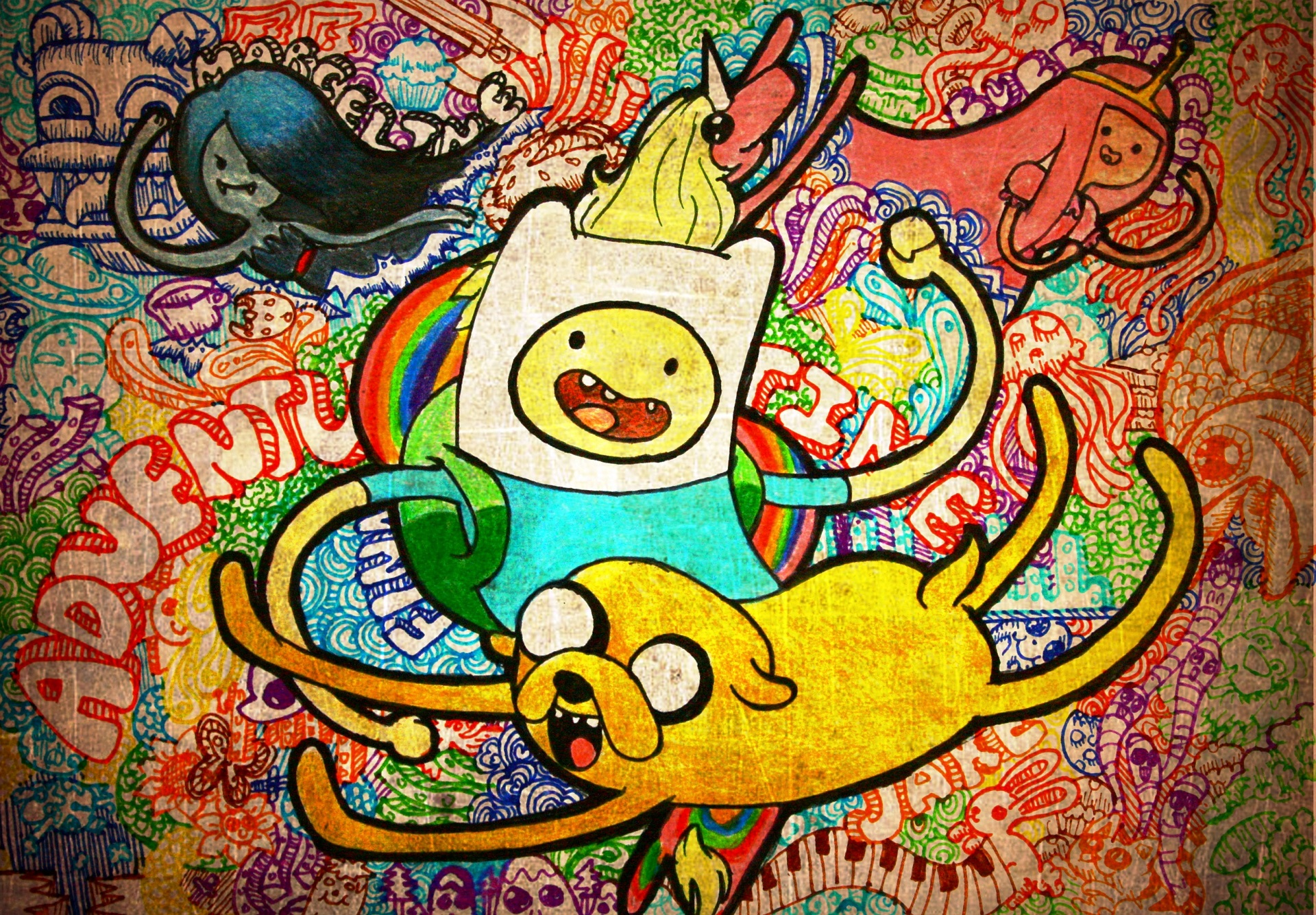 Image - Finn And Jake Drawing Wallpaper.jpg