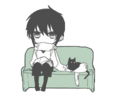 A boy with a black cat.png