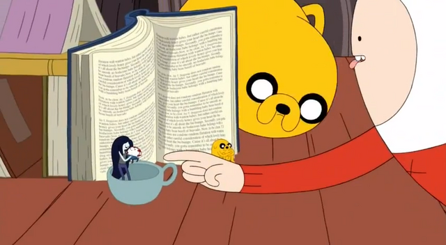 File:S5 e5 Tiny Marceline, Jake, and Peppermint butler in front of book.PNG