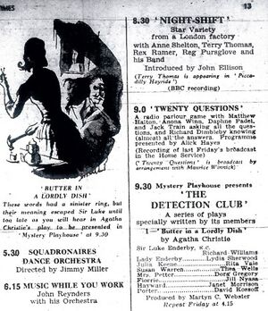 Radio Times billing for Christie play Butter in a Lordly Dish