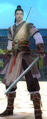 Normal pose double sword