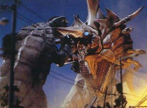 Gamera fights the Legion Queen.
