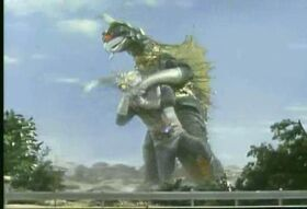 Zone Fighter fights Gigan.
