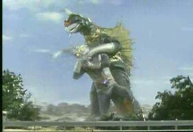 Zone Fighter fights Gigan.