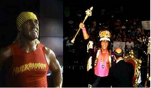 Hogan reacting to Bret's King of the Ring
