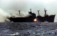 Cargo Ship under attack in Tanker war