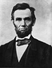 Abraham Lincoln head on shoulders photo portrait