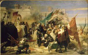 Histoire rhodes temps chevaliers 020 (levee siege rhodes en 1480, peinture edouard odier)