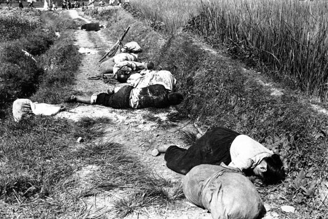 File:Korean civilians fleeing from the North Korean forces, killed when caught in the line of fire during night attack by guerrilla forces near Yongsan HD-SN-99-03166.jpg