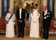 Michelle and Sir Obama and Queen Elizabeth II