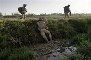 U.S. soldiers advancing through Southern Zimbabwe