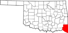 File-Map of Oklahoma highlighting McCurtain County