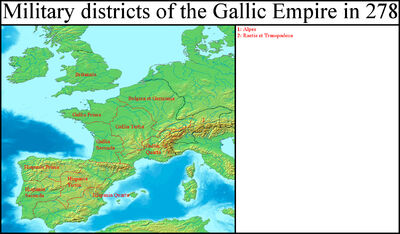 Military districts of the Gallic Empire in 278 (Gaul Rising)