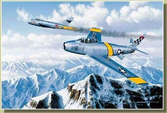 F-86-Sabre-with-burning-MiG-15