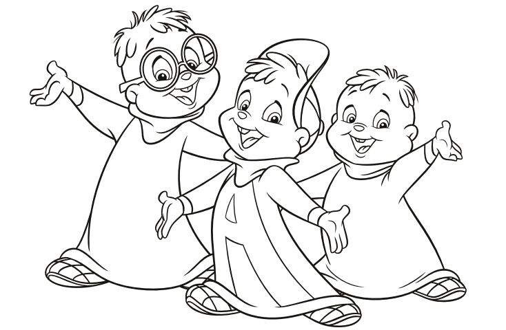 Image the classic chipmunks pose colouring for Chipmunks coloring pages
