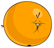 Inflated orange bird sprite