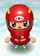Racer look with racing helmet