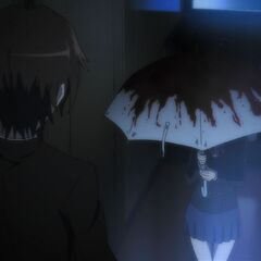 Kouichi encounters the undead Yukari in his nightmare, taking shelter under her bloody umbrella.