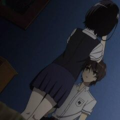 Mei shows Kouichi her doll eye.