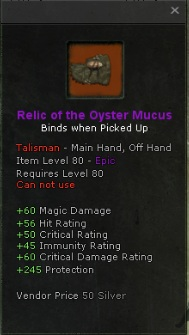 Relic of the oyster mucus