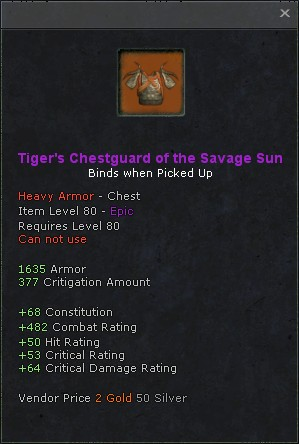 Tigers chestguard of the savage sun