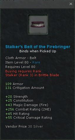 Stalkers belt of the firebringer