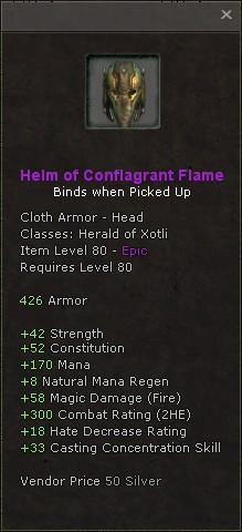 Helm of conflagrant flame