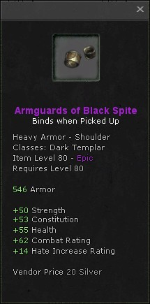 Armguards of black spite