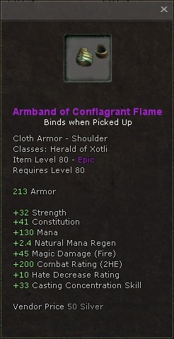 Armband of conflagrant flame