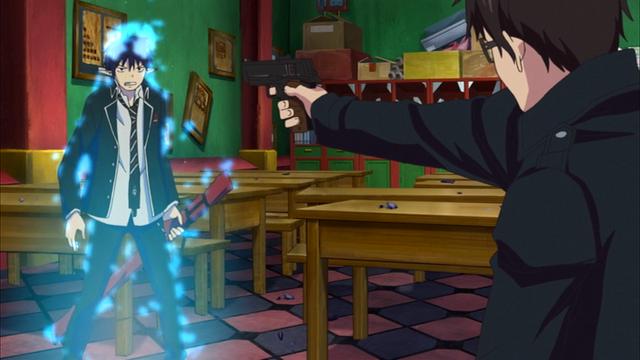 File:Yukio pointing a gun at Rin.png