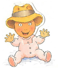 Baby D.W. in Mr. Read's Cowboy Hat