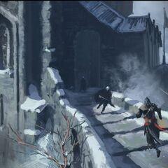 Ezio facing opposition on the battlements