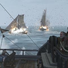 天鹰号正在向一艘炮舰发射葡萄弹