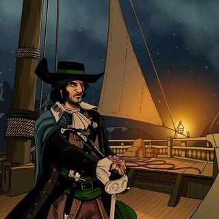 萊維塞爾站在船的甲板上