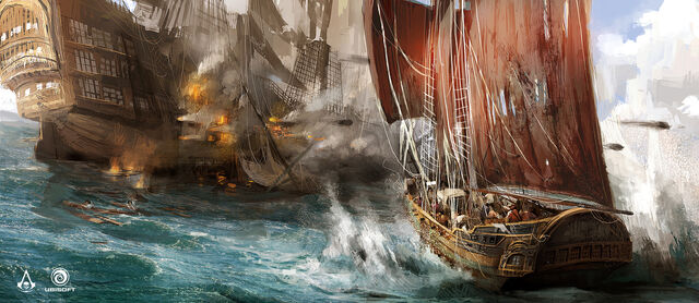File:AC4 Sloop vs Man O'War - Concept Art.jpg