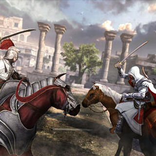 A horseback battle between Ezio and a Borgia soldier