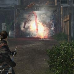Shay firing a shrapnel grenade