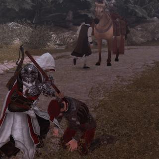 埃齐奥用长矛刺穿一名敌人