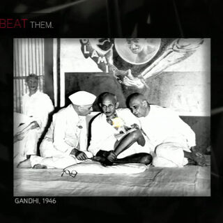 甘地照片的图解
